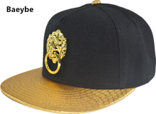 Gold lock lion head fingers PU leather baseball cap snapback men women adjustable hip hop warm snapback cap sun hat(China)