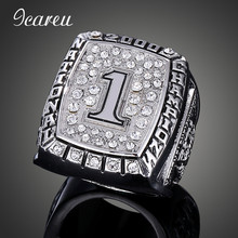 NCAA Rugby 2000 Oklahoma University Orange Bowl Championship Rings Number One Rhinestone Man Silver Color Ring