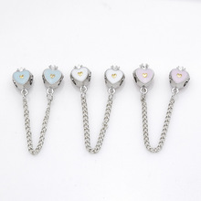 free shipping 1pc silver plated white pink lake blue crown safety chain bead charms fit european pandora style bracelet A037(2)(China)