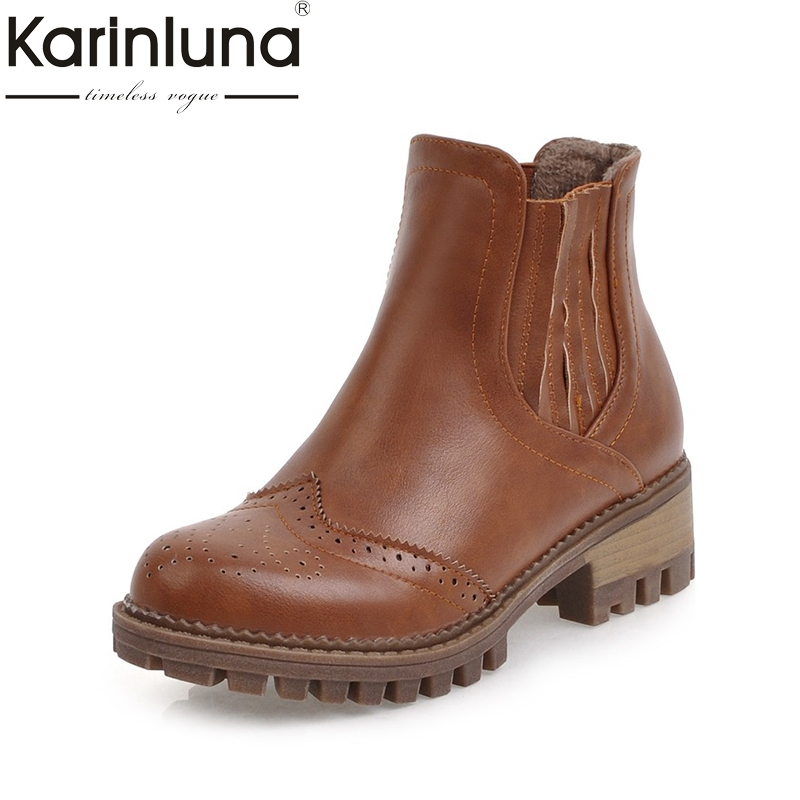 KARINLUNA 2017 Plus Size 34-43 Add Plush Winter Western Boots Fashion Platform Square Heels Rivets Women Shoes Black Brogue Shoe<br>