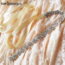 TOPQUEEN S163 Stock Floral couture Handmade Bridal Accessories waist belt for 16 Colors