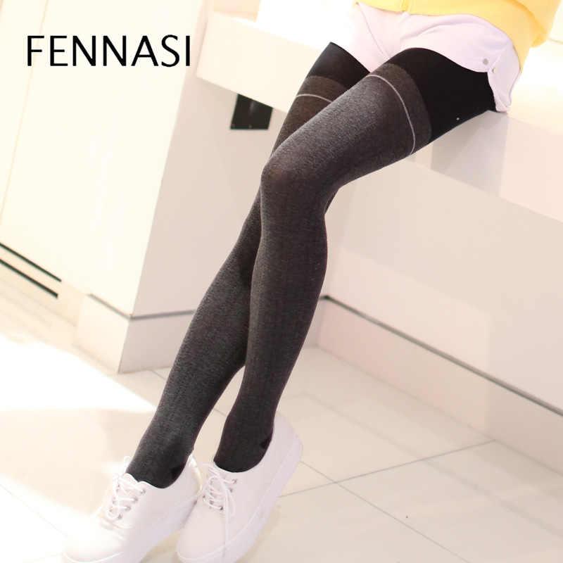 39798b090 FENNASI Autumn Winter Women Thick Warm Tights Female High Waist Patchwork  Stirrup Sexy Pantyhose Women Leg