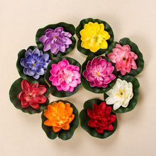 1PCS 10CM Real Touch Artificial Lotus Flower Foam Lotus Flowers Water Lily Floating Pool Plants Wedding Garden Decoration 2017(China)