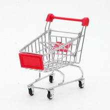 Modern Simple Mini-simulation Supermarket Shopping Cart Home Decoration Figurines Metal Cart Children's Toy Car Model Craft Gift(China)