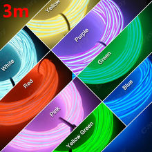 3M Flexible EL Neon Glow Lighting Rope Strip + Charger for Car Decoration 3-meter Red/Yellow/Green/Blue/Pink/White #CA4634