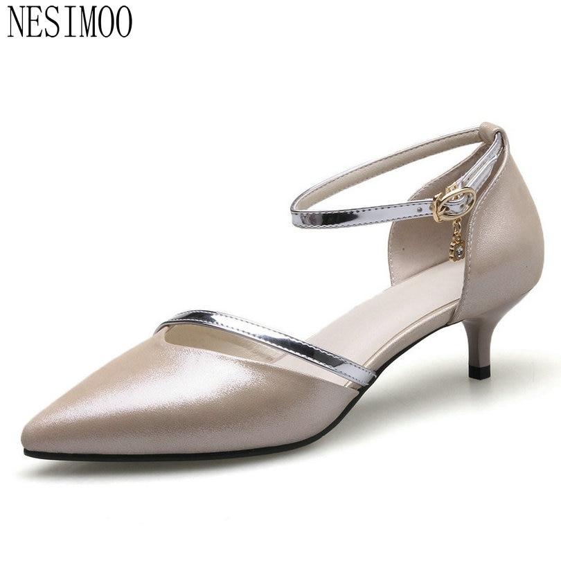 NESIMOO 2018 Women Pumps Buckle All Match Cow Leather +pu Fashion Thin High Heel Pointed Toe Platform Wedding Pumps Size 34-41<br>