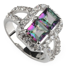 Rainbow Mystic and white Cubic Zirconia Rhodium Plated Ring R769 Size #6 8 9 First class products Promotion Rave reviews Fashion