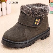 QGXSSHI Children Boots Boys Girls Winter Snow Boots Plush Lined Cow Leather Waterproof Baby Shoes Kids Martin Sneakers Flats