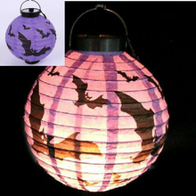 FD2804 Halloween X'mas LED Paper Hanging Lantern DIY Scary Party Bats Decor