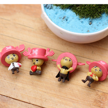 4pcs micro fairy garden decor gnome Anime One Piece kawaii deers Chopper Action Figures Toys DIY terrarium dollhouse accessories