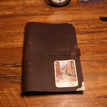 A5 size handmade genuine leather notebook  travel journal belt lock 5 color diary spiral filler paper school supplies notebook