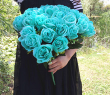 Artificial Mint Green Rose Flower Bouch (36 head/piece)  Roses Flowers Plastics Rose for Wedding Bride Bouquet Floral Deco