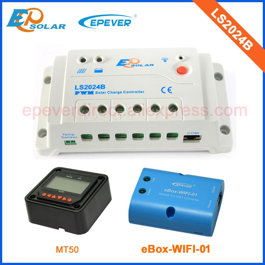 PWM solar regulator 20A LS2024B with ebox-wifi-01 funtion for mobile use and black MT50 remote meter 12v/24v auto type<br>