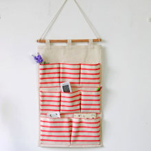 Bolsas De Marca Special Offer Square Vacuum Bag Zakka Linen Hanging Striped Storage Bags Pocket Wall Makeup Box Sundries Basket