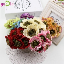 6pcs artificial sunflower small cloth,silk bouquet gerbera daisies,scrapbook Flores,flower head wreaths, DIY wedding decorations(China)