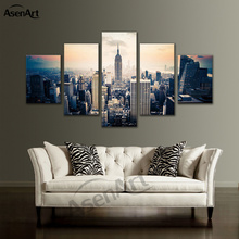 5 Panel Printed Canvas Pictures for Living Room Framed Sunset Night City Landscape Painting Modern Home Decor(China)