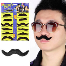 12pcs/set Costume Party Wedding Fake Mustache Moustache Funny Fake Beard Whisker Mood Pictures Props(China)