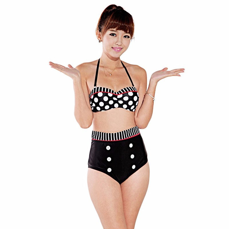 StarHonor Sexy Woman strappy Beach Swimsuit Retro Polka Dot Halter Biquini Two-piece Bikinis Sets Push Up Bathing Suit Swimwear 7