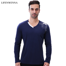 Men's Long Sleeve T Shirt Autumn Fashion Brand V Neck Print T Shirt Mens Clothing High Quality Cotton Casual Mens Top Tees M-5XL(China)
