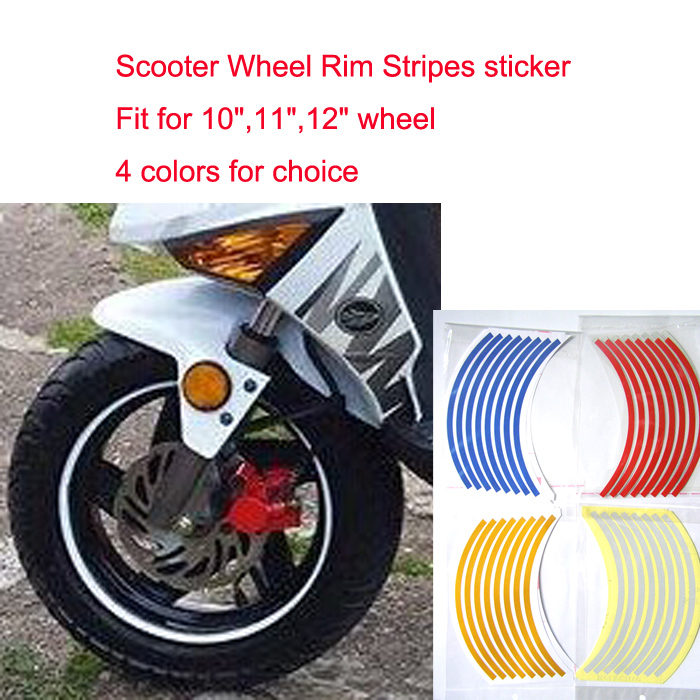 "Wholesale 20sets,16+2 Stripes, 10""11""12"" wheel,Reflective Rim Stickers for Scooter only! 4 Colors,pack in OPP bag,Free shipping(China (Mainland))"