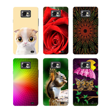 Case For Samsung Galaxy S2 i9100 Samsung galaxy s2 plus i9105 Back Cover Flower Original Hard Plastic Printed Cat Owl Phone Case(China)