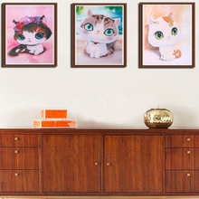 30*40CM Cartoon Cat Pattern Children Kids DIY Handmade Painting Diamond Embroidery Resin Home Decoration Painting Three  Types