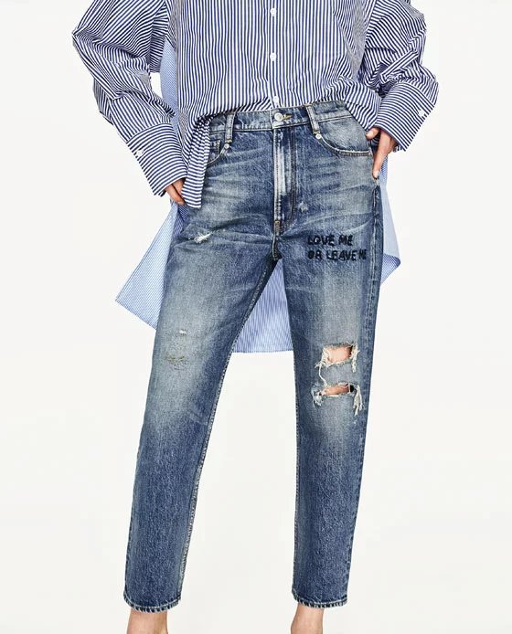 2017ss New Woman Vintage MID-RISE BOYFRIEND Denim Jeans Knee Rips Front Text love me leave me Embroidery crop trousersÎäåæäà è àêñåññóàðû<br><br>