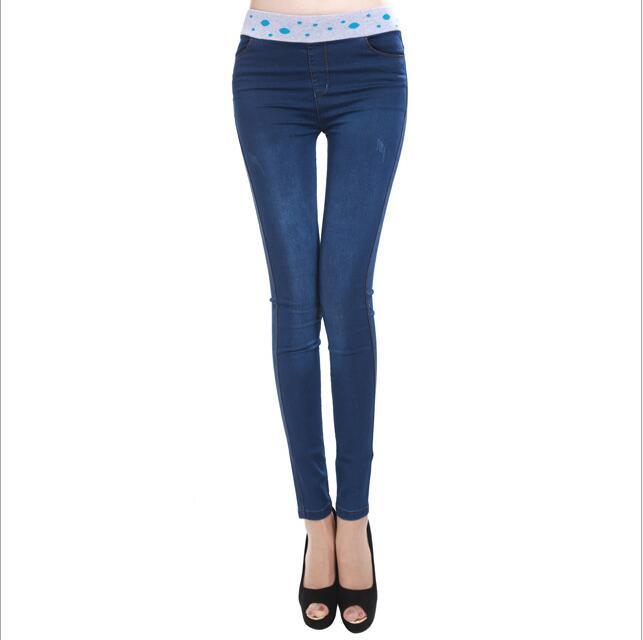 Ribbed waist elastic 2017 autumn new Slim thin cotton stitching Slim fold damen jeans straight jeans pantsОдежда и ак�е��уары<br><br><br>Aliexpress