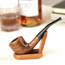Handmade high quality wood curved tobacco pipe Tools Set,9MM Wood filter smoking pipe