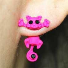 2016 hot new design fashion brand jewelry 7 Colour 3D Cute cat stud earrings for women(China)