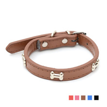Leather Pet Dog Collars Bone Pet Puppy Cat Basic Collars Fashion Necklace Dog-Collar Lead For Small Dogs Pet Products S4N15