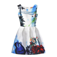 Chinese Ink painting print girl dress 2017 Flower Party Dresses For Girls Kids Autumn Christmas Costumes Children vestidos