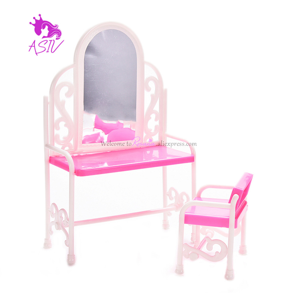 Rosana Princess Dressing Table With Chair For Barbie Doll Play House Bedroom Furniture Dresser