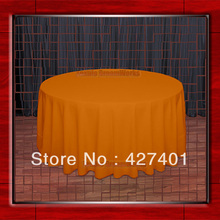 "Hot Sale 120""R Orange 210GSM Polyester plain Table Cloth For Wedding Events & Party Decoration(Supplier)"