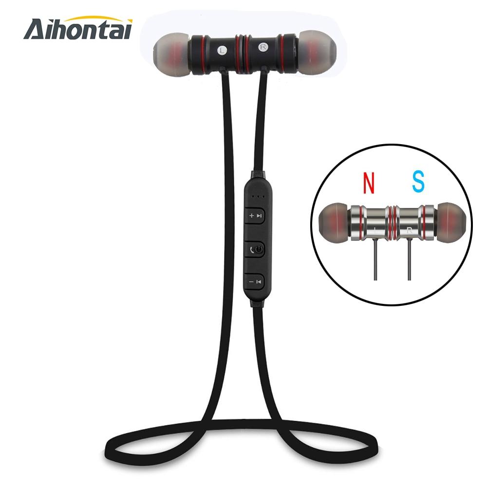 Aihontai Magnet Metal Sports Bluetooth Earphone Wireless Earbud Stereo Headset sport headphone HIFI Bass earpods For iphone<br><br>Aliexpress