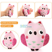 2017 NewArrival 14CM Squishy Kawaii Cute Pink Owl PU Soft Slow Rising Phone Strap Squeeze Break Kid Toy Relieve Anxiety Fun Gift(China)
