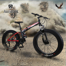 "KUBEEN 20""4.0/26*4.0 inch 7/21/24/2 speed folding fat bike double disc brakes mountain bike big tire snow bike For man and women"