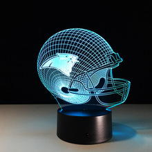 Creative NFL Carolina Panthers Football Telmet Illusion 3D Night Light USB Touch Colorful LED Desk Lamps Souvenirs(China)