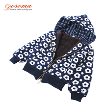 2017 new autumn winter baby girls outerwear fleece jackets korean clothes kids printed flower children thick warm hoodied coats(China)