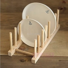 New Wooden Drainer Plate Stand Wood Dish Rack 7 Pots Cups Display Holder Kitchen H06
