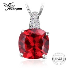 JewelryPalace Cushion 4.9ct Red Created Rubies 925 Sterling Silver Solitaire Pendant For Women Brand New Jewelry Engagement Gift(China)