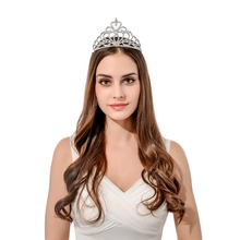 Free shpping hight quality pageant customized crystal heart crown bridal wedding tiara for girls hair decoration(China)