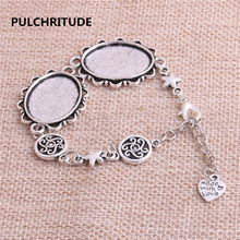 PULCHRITUDE 3 pcs 22cm Alloy Antique Silver Chain Bracelet Hand Charm Round Cabochon base Setting Fit 25*18mm Dia Women Z0031