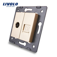 Manufacture Livolo, Golden Crystal Glass Panel, 2 Gangs Wall Computer and TV Socket / Outlet VL-C7-1VC-13, Without Plug adapter