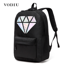 Women Backpack Schoolbag Teenage Backpacks For Girls Holographic Canvas Men Backpack Male Laptop Waterproof Diamond School Bag(China)
