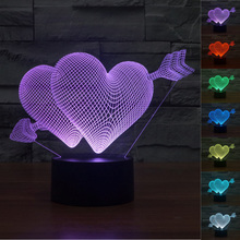 3D Illusion Cupid's Arrow Love Heart LED Table Night Light USB Operated Romantic White Day Valentine's Day Lover Couple Gifts