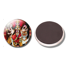 Durga 30 MM Fridge Magnet Yoga Amulet Buddhism Tiger Hinduism Glass Dome Magnetic Refrigerator Stickers Note Holder Home Decor(China)