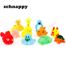 13Pcs Lovely Mixed Animals Water Toys Colorful Soft Rubber Float Squeeze Sound Squeaky Bathing Toy For Baby Kids