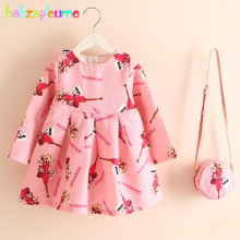 2PCS/2-6Years/Spring Autumn Kids Clothes For Baby Girls Dress Flowers Fashion Princess Dresses+Bags Korean Clothing Store BC1587