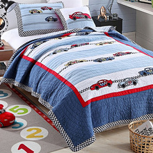 CHAUSUB Cartoon Kids Quilt Set 2PC SOFT Cotton Quilts Patchwork Bedspread Racing CAR Design Bed Cover Twin Size Boys Coverlet(China)